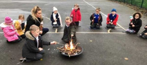 Year 1 make a fire in Forest School